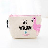 mini fermuar para çantaları toptan satış-Adisputent Mini Cüzdan Karikatür Flamingo Madeni Para Çanta Kızlar Fermuar Para Çantası Güzel Çocuk Çocuk Anahtar Para Çantası Seyahat Organizatör