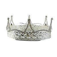 coroas redondas para noivas venda por atacado-1 PC Nupcial Coroa Tiara Oco Strass Rodada Tiara De Casamento Cocar Da Dama De Honra Ornamento Do Cabelo Festival Decor Noiva Headband