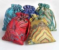 Wholesale satin drawstring gift bags for sale - Group buy Vintage Wave Small Chinese Silk Satin Pouch Wedding Candy Bag Party Favor Pouch Drawstring Jewelry Gift Packaging Bags