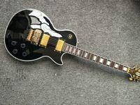 gitarren les großhandel-auf Lager Freies Verschiffen 2019 neue Floyd Rose Tremolo G Les Paul Standard-E-Gitarre Black Beauty Golden Hardware Gitarre