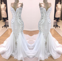 Wholesale chiffon prom dress sweetheart neckline resale online - New White Lace Mermaid Prom Dresses Sweetheart Neckline Evening Dresses Chiffon Sweep Train Party Gowns Custom Made