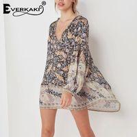 5e20cbfcc06 Everkaki Black Phoenix-tail Print Mini Dress Femmes Boho Manches Longues  Coton Lâche V-cou Lace Up Robe Bohème 2019 Printemps Nouveau