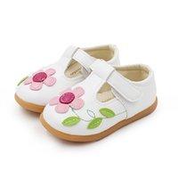 neujahrsblume großhandel-1-8 Jahre Weiß Rosa Blume Kinder Kleinkind Baby Kleine Mädchen Flache Leder Floral Schuhe Für Mädchen Schule Lässig Prinzessin T-Schuhe Neue