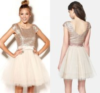 junioren champagner röcke großhandel-Champagne Homecoming Kleider Kurz Rose Gold Pailletten Tüll Sweet 16 Junioren Abendkleid Party Kleider Semi Formal Plus Size Tutu Rock
