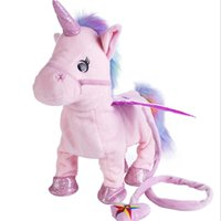 Wholesale new electronics toys resale online - Electric Unicorn Plush Doll Toys Electronic Walking Music Singing Toy Kids Children Birthday Christmas Halloween New Year Gifts HHA757