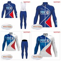 Wholesale short sleeve winter cycling jersey resale online - FDJ team Cycling sports jersey outdoor Mountain bike Riding clothing Winter Thermal Fleece womens Long sleeves bib shorts sets Q81534