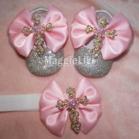 zapatos rosas brillantes al por mayor-Pink bowknot Custom Sparkle Bling cristales Rhinestones Baby girls infant 0-1Y zapatos de la cinta First Walkers hairband 0032