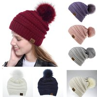 Wholesale crochet kid hat spring for sale - Group buy 9 Styles Big Girls Knit Cap Kid Crochet Pom Poms Beanies Hat Fur Ball Hats Knit Outdoor Caps big girls Accessories M422