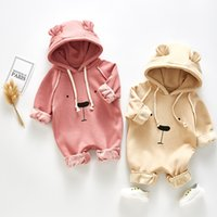 Wholesale baby bear clothes resale online - Winter Velvet Warm Baby Boy Girl clothes romper Lolita baby Bear Print Style romper Hoodes England Warm Outwear Romper