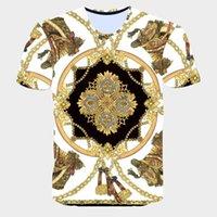 novidade dos tipos camiseta venda por atacado-Novidade 3D Corrente De Ouro Impressão Barroco Marca T-shirt 2019 Estilo Verão de Manga Curta de Luxo Homens Reais Roupas Hip Hop Tops Tees