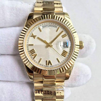 Wholesale mens roman numerals watch for sale - Group buy mens watches DATE K gold watch MM striped dial Roman numerals automatic movement sapphire glass President strap1