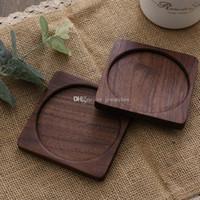 hölzerne bierdeckel großhandel-Quadratische Buche Holz Kaffee Tasse Pads aus Holz Schwarz Nussbaum Untersetzer aus massivem Holz Tee Becher Matte