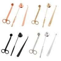 candelabros de metal conjuntos al por mayor-3pcs / set Apagavelas Trimmer Hook 4 colores acero inoxidable Vela Tijeras Mechas sostenedor del hogar Decoración OOA7516-1