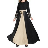 абая мусульманский арабский оптовых-Muslim Abaya Dress Elegant Lace embroidery Cardigan Robe Kimono Jubah Ramadan Arabic Turkish Islamic Prayer Clothing 4.12
