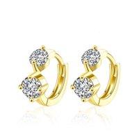ingrosso orecchini a diamanti a vite-Orecchini unici progettati Due diamanti imitazione placcato oro zircone mosaico clip-on vite orecchini orecchino accessori regalo alla moda POTALA130