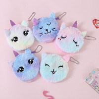 Wholesale wallet kid cartoon purse for sale - Group buy 5styles cat unicorn plush Wallet short coin cartoon purse zipper kids student Key pendant bag card storage bags card holder cm FFA2748