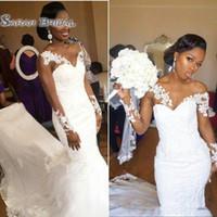 Wholesale girls sexy mermaid wedding dresses for sale - Elegant African American Black Girl Wedding Dress Mermaid White V neck Sheer Long Sleeves Lace Long Bridal Gown