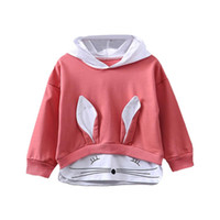 Wholesale full animal rabbits resale online - 3 Colors Autumn Baby Girl Long Sleeve Rabbit Hoodie Sweatshirt Casual Toddler Outerwear Coat Clothes