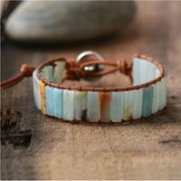 silber armband leder knebel großhandel-New Bohemia Armband Amazonite Single Vintage Leder Wickelarmband Halbedelstein Perlen Manschette Armband Dropshipping