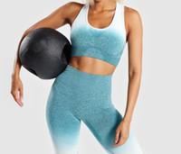 nylon sport bh großhandel-Yoga-Set für Damen Sport-BH und Gymnastikbekleidung Ombre Seamless Leggings Workout Sportanzug Energy Fitness Sportswear Active Wear