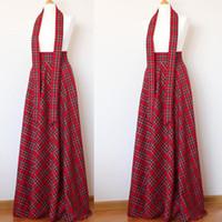 falda maxi roja más el tamaño al por mayor-Falda maxi de tartán rojo al por mayor 9XL 10XL Más tamaño maxi falda a cuadros con cinturón 2019 NUEVA Moda Primavera Otoño falda larga