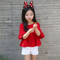 Wholesale new fashion t shirt korean resale online - New spring and summer Korean children s clothing big red horn sleeves shirt children s Adal cotton T shirt generation