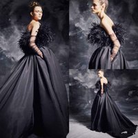 kürklü balo elbiseleri toptan satış-Seksi Binbaşı Kürk Siyah Gelinlik Modelleri 2019 Straplez Saten Sweep Tren Parti Abiye Mezuniyet Akşam Örgün Elbise