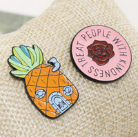 Wholesale wedding flower badge for sale - Group buy Pineapple Ananas Brooches TREAT PEOPLE WITH KINDNESS Flower Brooch Cartoon Enamel Lapel Pin badge For Women Girl Boy Kids