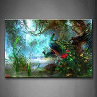 Wholesale peacock wall paint resale online - Two Peacocks Walk In Forest Beautiful Bird Feathers Handpainted Animal Wall Art Oil Painting On Canvas Home Deco Mulit sizes Frame Options