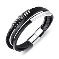 Wholesale stainless steel magnetic resale online - Men Braided Leather Cuff Bracelet Punk Gothic Weaved Charm Bracelets Costume Jewelry Stainless Steel Magnetic Snap Wristband Bangle PH1162