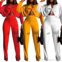 pantalones modernos al por mayor-Estilo moderno Sexy conjunto de 2 piezas Mujer Con cuello en v de encaje Crop Top Y Cintura alta pantalones rectos Otoño High Street Chándales