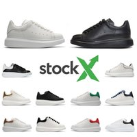 Stock X Black white red Luxury Fashion Designer Women men Shoes Gold Low Cut Brand Leather Flat designers men womens Casual sneakers 36 44
