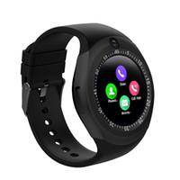 bluetooth için akıllı saatli cep telefonu toptan satış-Smartwatch Android için Y1 Kamera Sürümü Ile Akıllı İzle Cep Telefonu Bluetooth perakende Paketi içinde Iphone için saatler