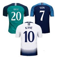 futebol, futebol, remendo venda por atacado-camisa de futebol Tottenham Hotspur Tailândia de qualidade 2018 2019 KANE DELE ERIKSEN Camiseta SON maillot de pé uniforme Com remendo Campeão soccer jersey football shirt 18 19