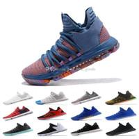 basquete kevin durant azul sapatos venda por atacado-2019 Nova Chegada O Que O Kd X 10s Azul Rosa Verde Basquete Esportivo Crianças Sapatos 10 s Qualidade Kevin Durant 10 Ep Athletic Sneakers
