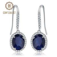 küpeler bale toptan satış-GEM'S BALLET 925 Ayar Gümüş Vintage Küpe Güzel Takı 4.04Ct Doğal Mavi Safir Taş Dangle Küpe Kadınlar için