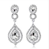 pedreria al por mayor-2019 nuevos cristales brillantes de moda pendientes nupciales pedrería pendiente largo para mujeres joyería nupcial regalo de boda para damas de honor