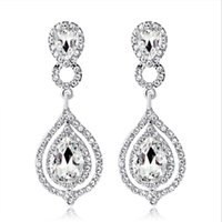 2021 New Shining Fashion Crystals Bridal Earrings Rhinestones Long Drop Earring For Women Bridal Jewelry Wedding Gift For Bridesmaids