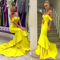 Wholesale red prom dresses online - 2019 Bright Yellow Mermaid Prom Dresses Sexy Off Shoulder Tiered Evening Gowns Sweep Train Formal Party Dress Cheap Formal Wear