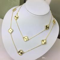 colares esculpidos venda por atacado-NOVO Trevo requintado esculpida 18 K colar de camisola de ouro para as mulheres marca de moda designer de jóias para as mulheres