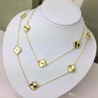 collares tallados al por mayor-NUEVO Exquisito trébol tallado collar de suéter de oro de 18 quilates para mujer diseñador de marca de moda joyería para mujer