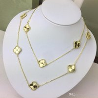 enfes oymalı mücevherat toptan satış-YENI Zarif yonca oyma 18 K altın kadınlar için kazak kolye moda kadınlar için marka tasarımcısı takı