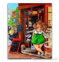 cartoon-ölgemälde leinwand großhandel-vA. Freie Verschiffen-Qualitäts-Handbemalte HD-Druck Abstrakte Abbildung Wand-Kunst Cartoon-fette Dame auf Leinwand Home Office Deco p98