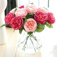 peônia vermelha artificial venda por atacado-Atacado 50 pcs Encantador Tecido De Seda Artificial Rosas Peônias Flores Bouquet Branco Rosa Laranja Verde Vermelho para o casamento home hotel decor