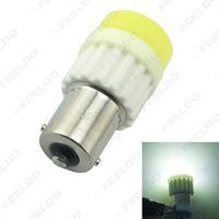 1156 led luces de marcha atrás al por mayor-venta al por mayor blanco BA15S 1156 / S25 COB 10W cristal de cerámica LED luz coche bombilla LED luces de giro inversas luz de respaldo # 2714