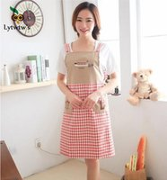 linda cocina coreana al por mayor-1 unidades Lytwtw's Cute Fashion Korean Grid Sin mangas Cocina Resturant Kitchen Women Home Antiincrustante Anti-oil Delantal