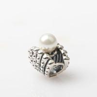 Wholesale seashell bracelet diy resale online - New Real Sterling Silver Freshwater Pearl Seashell Charm Thread Beads Fits Women Gift Pan Charm Bracelets Diy Jewelry