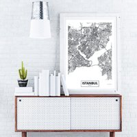 Wholesale city painting black white resale online - Modern City Istanbul Map Canvas Oil Painting Black and White Minimalist Wall Art Poster Prints Pictures for Living Room Abstract Home Decor
