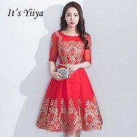 kurzes rotes glitterkleid großhandel-Es ist YiiYa Auf Lager Shining Glitter Wintage Red A-Linie Brautjungfernkleider Oansatz Zipper Short Formal Dress