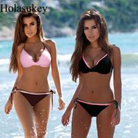 HolaSukey Solid Push Up Bikinis Women Bandage Swimwear Bikini Set sexy Bordered Bathing Suit Plus Size Swimsuit Femme Biquini T191008